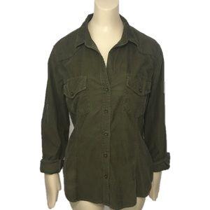 Bella Dahl corduroy Button Down Shirt Sz M green